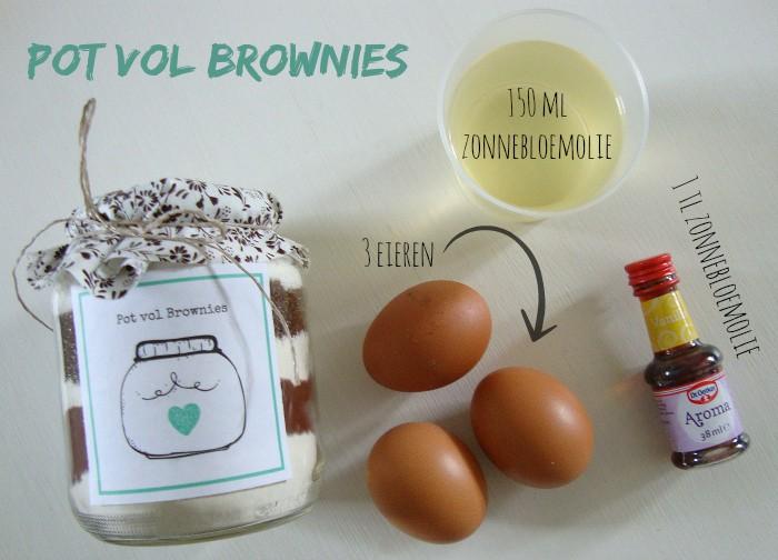 Pot vol brownies ingredienten