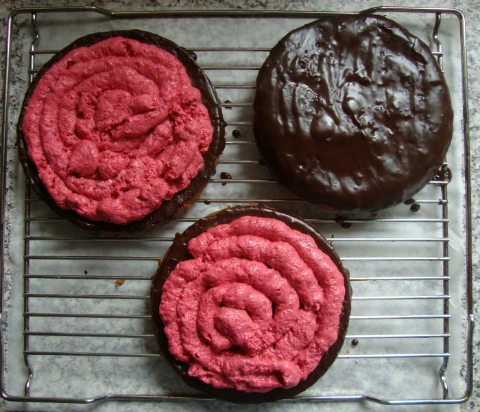 Frambozen chocolade cake taart