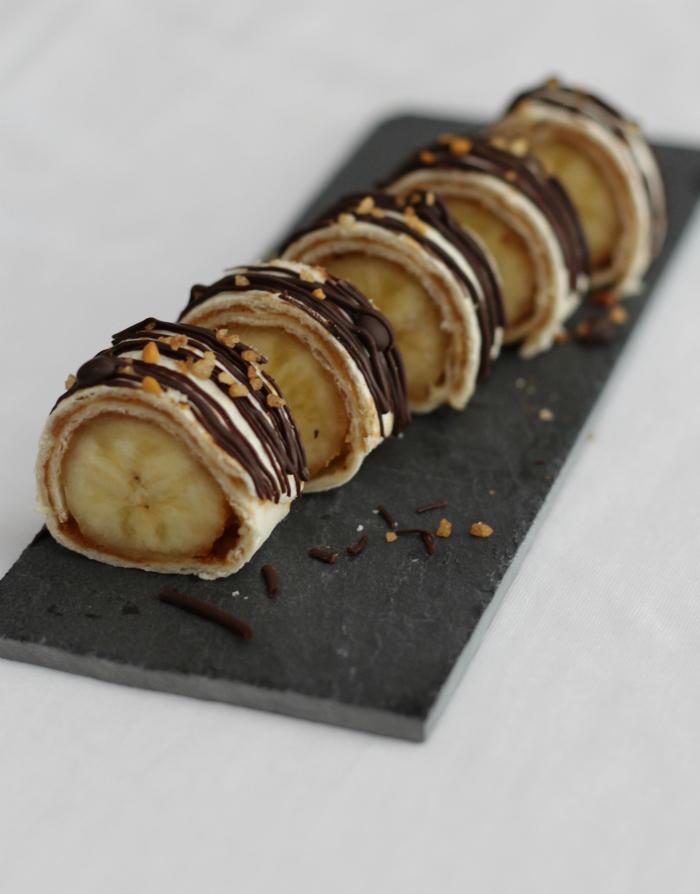 banaan pindakaas chocolade sushi