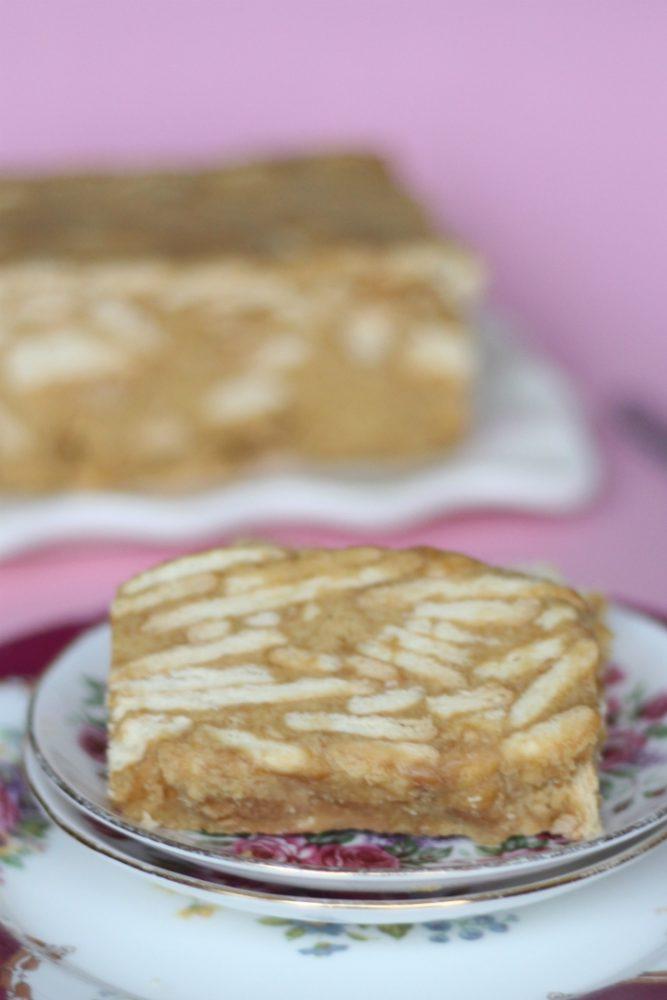 karretjescake koekjescake met karamelvla