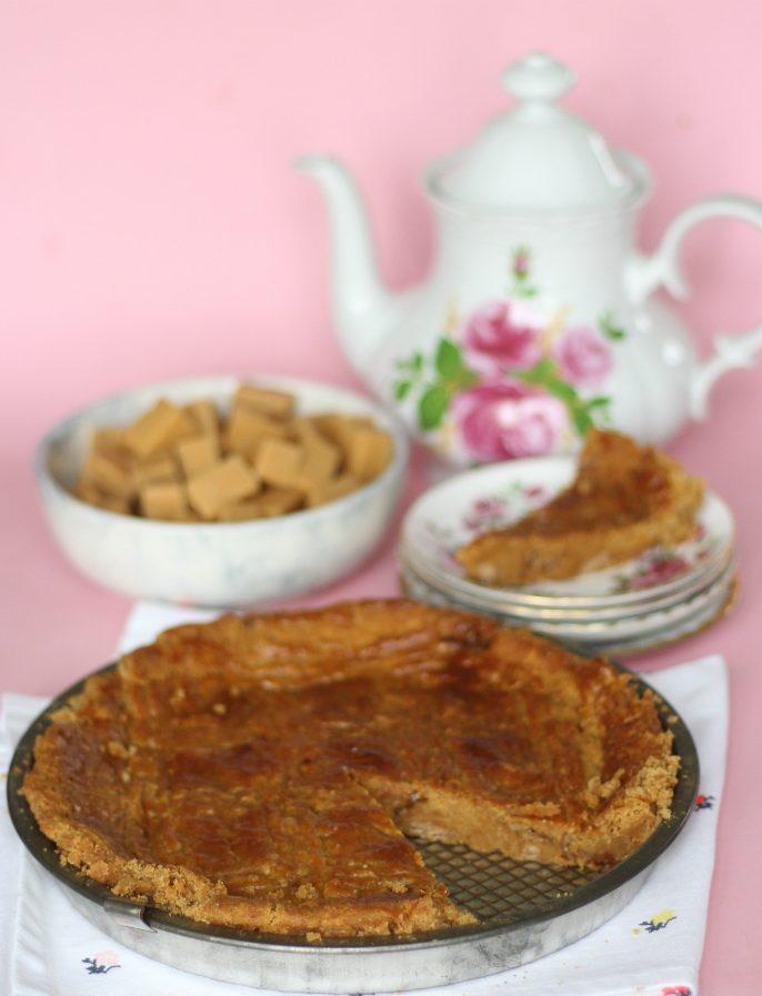 boterkoek met stroopwafel en karamel