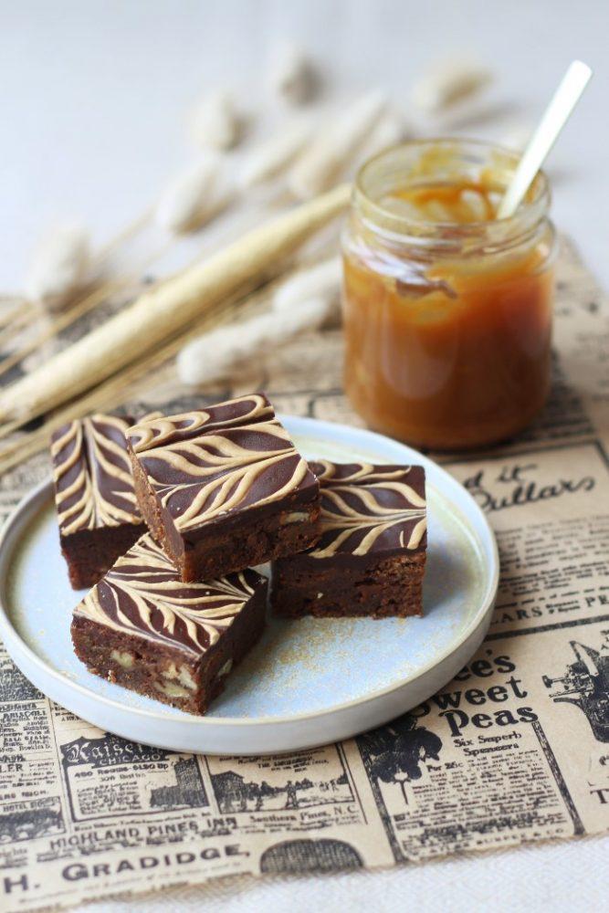 karamel brownies met pecannoten